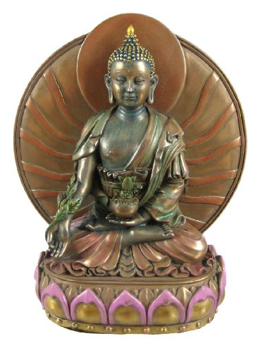 MEDICINE BUDDHA Healer Statue Tibetan Buddhism Antique Bronze Finish with Hand-painted Color Accents