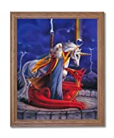 Wizard Dragon Unicorn Storm Chaser Fantasy Kids Room Wall Picture Oak Framed Art Print