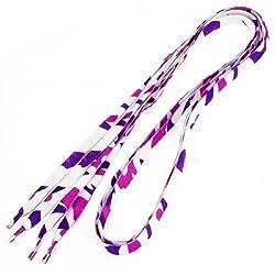 Banggood Irregular Shape Print Flat Laces Shoestrings, White Pink Purple