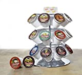 Single Serve Coffee Carousel for 24 Keurig K-cups with Condiment Tray