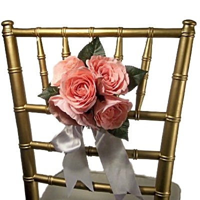Pink Rose Pew Bow, Chair Flowers FREE SHIPPING