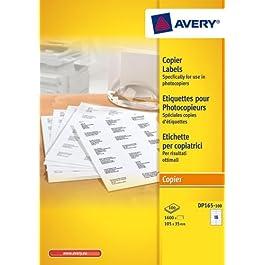 AVERY - DP165-100 - 1600 étiquettes adhésives blanches multi usages. 105x35mm. Impression copieur