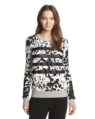Shae Women's Leather Stripe Perforated Stitch Pullover Top
