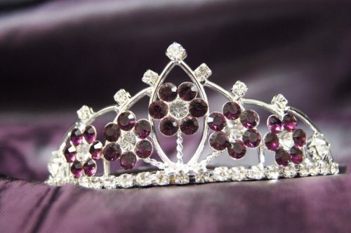 Princess Bridal Wedding Tiara Crown  Dark Purple