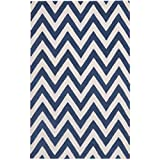 Safavieh Cambridge Collection CAM139G Handmade Navy and Ivory Wool Area Rug, 8 feet by 10 feet (8' x 10')