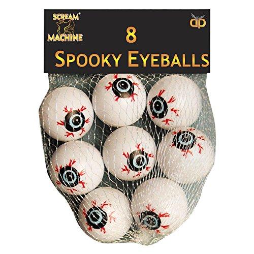 Décoration Halloween - Lot de 8 globes occulaires