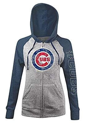 Chicago Cubs Women's Tri-Blend Fleece Zip-Up Hoodie by 5th and Ocean