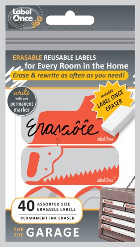 Jokari Label Once Garage Erasable Labels Kit with 80 Labels and Eraser, 2-Pack