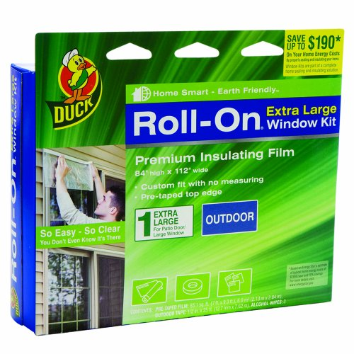 Duck Brand 1162925 Roll-On 84-Inch by 112-Inch Premium Single Extra Large Outdoor Window Insulator Kit