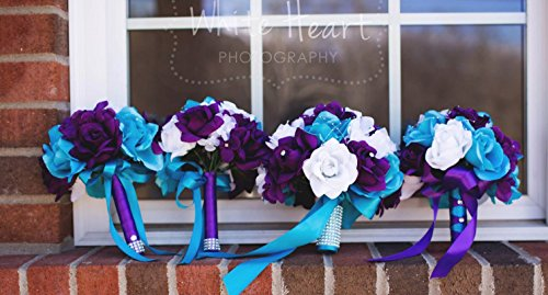 13pc Wedding Flowers-malibu Turquoise Purple White Rose and Hydrangea Arrangements.
