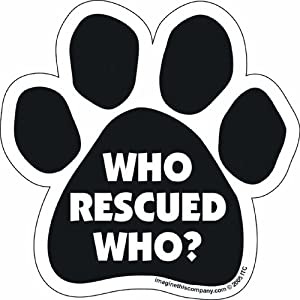 Car Magnet-Paw-Who Rescued Who- 5.5″ x 5.5″