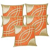 Eye Design Beige N Orange Cushion Covers 30x30 Cms (Set Of 5)