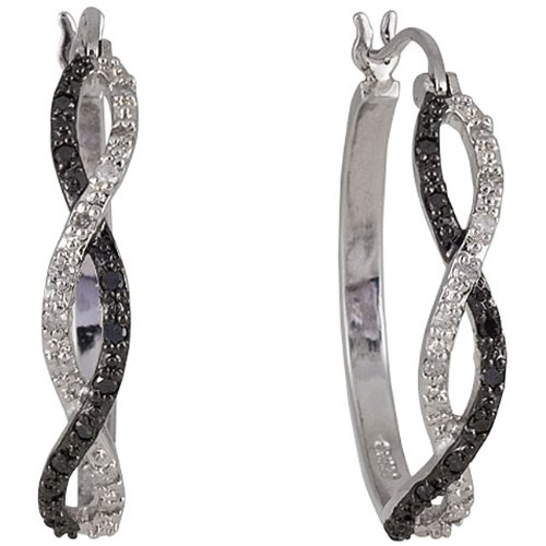 Design Sterling Silver 1/4ct TDW Black and White Diamond Hoop Earrings