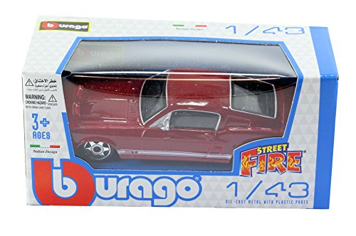 new-burago-1-43-diecast-model-car-old-ford-mustang-gt-coupe-in-dark-red-burago-street-fire-range