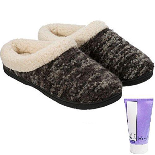 Dearfoams Women's Memory Foam Slipper Clog (Black, L = 9/10)