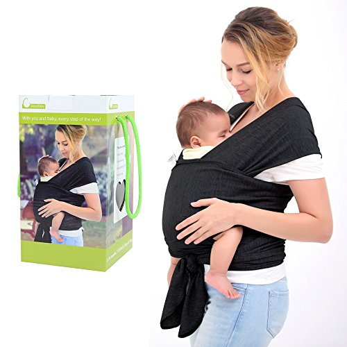 InnooBaby-Baby-Wrap-Carrier-Natural-Cotton-Nursing-Baby-Sling-Suitable-for-Newborns-to-35-lbs-Lifetime-Guarantee-Breastfeeding-Sling-Soft-Safe-and-Comfortable-Nice-Baby-Shower-Gift-Black