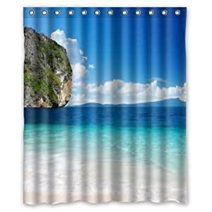 Beach Theme Custom Ocean Waves California Paradise Custom Polyester Waterproof Bath