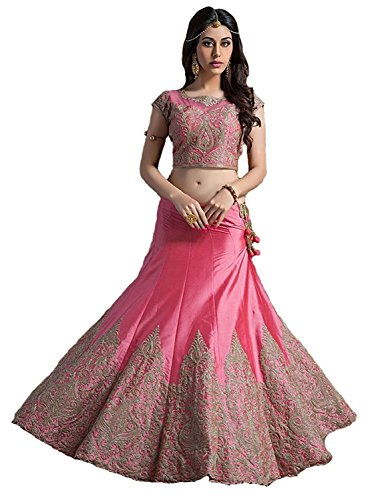 Aarna-Fashion-Womens-Tassar-Silk-LehengaPink-LehemgaPinkFree-Size