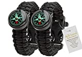 #1 Best Value Paracord Bracelet - A2S Survival Gear Kit Everest Series with built-in New Type Compass, Fire Starter, Emergency Knife & Whistle - Pack of 2 - Quick Release Buckles (Black / Black)