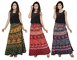 PMS Cotton Multi Color Wrap Around Woman's Skirts Combo Pack Of 3 (Assorted Design)