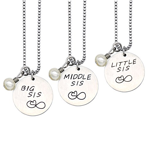 O.RIYA 3 Best Friend Necklace, Sister Gifts Necklac Keychain Jewelry,Bridesmaid Jewelry , Big middle little Sister Necklace Set,Three Best Friends Christmas Gift,Personalise Necklaces