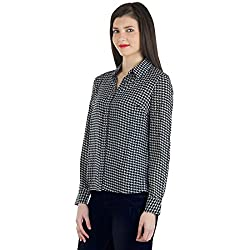 WOMEN BLACK N WHITE HOUNDSTOOTH SHIRT (Large, BLACK AND WHITE)