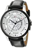 Gevril Men's 2002 Columbus Circle Automatic Stainless Steel Black Hand Made Leather Day Date Watch