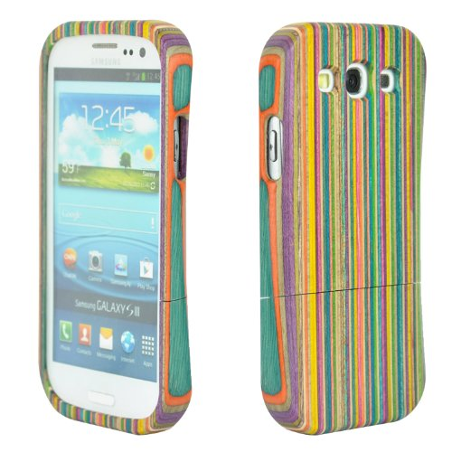 SunSmart(TM) Unique Handmade Natural Wood Wooden Hard bamboo Case Cover for Samsung Galaxy S3 III i9300 with free screen protector(artistic Stripe)