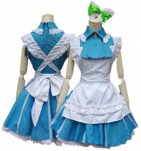 POJ Japanese Anime Love Live Style Maid Costume [ M / L Blue for Women with Apron ] (M)