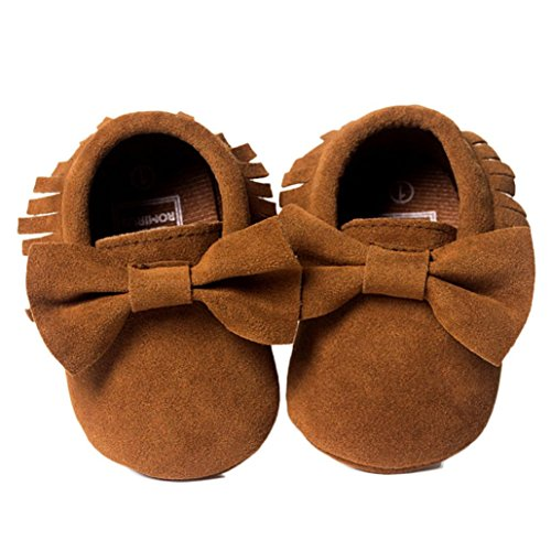 Perman Baby Flats Crib Tassels Bowknot Infant Boy Girl Shoes Toddler Sneakers (13cm/12-18M, Coffee)