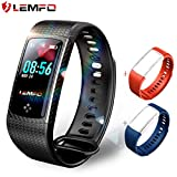 LEMFO Fitness Tracker Color Screen Heart Rate Monitor Swimming Waterproof Activity Tracker Smartband Sleep Monitor Pedometer Smart Bracelet Wristband for IOS Android (Black)