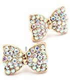 Adorable Pretty Princess Bow Stud Earrings with Sparkling AB Austrian Crystals - Gold Tone