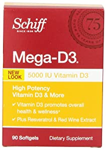 Schiff Mega-D3 Vitamin D3 5000 IU with Resveratrol and Red Wine Extract Supplement, 90 Count
