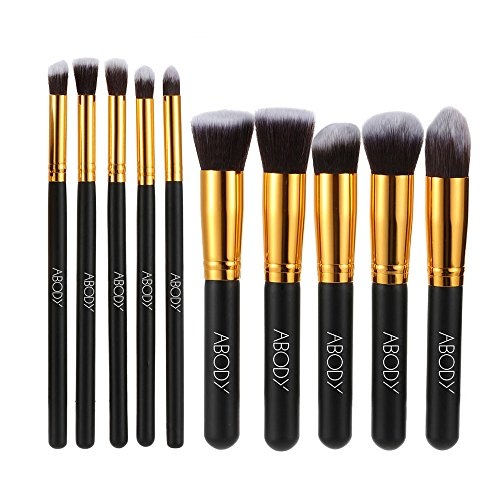 Abody 10 pezzi Set di Pennelli Make up Professionale Cosmetico per Nero e Oro