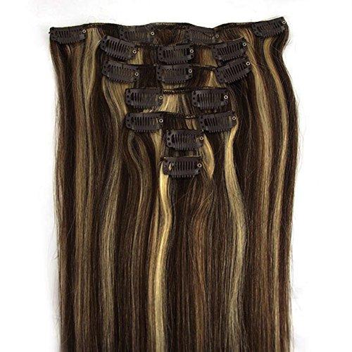 RemyHair Remy Echthaar Haarverlaengerung Clip-In-Extensions 38CM 16clips 70g#2613 mischen