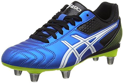 ASICS - Lethal Tackle Gs, Scarpe Rugby da unisex - adulto, blu (electric blue/white/flash yell 3901), 37