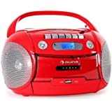 Auna Boomheart Ghettoblaster CD Player MP3 Player Kassettenplayer (MP3-CD-Player, USB-Port, Kassettendeck, UKW-Radio) rot