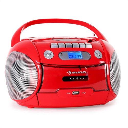 Auna Boomheart Radio registratore portatile CD USB MP3 rosso