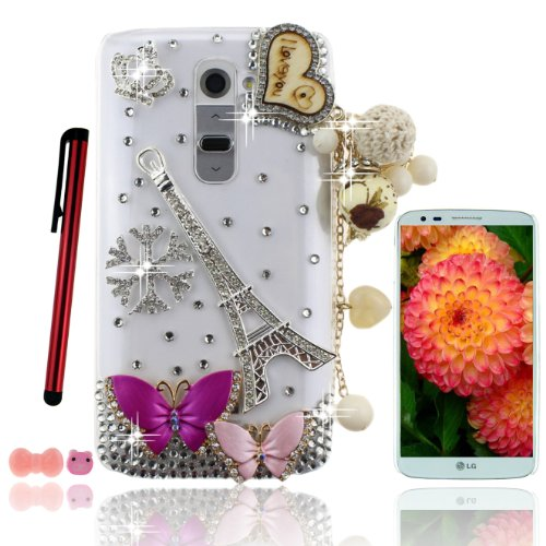 Ancerson Eye-Catching Luxury Girly Pink Rose Red Butterfly Silvery Imperia Crown Romantic France Paris Eiffel Tower Christmas Snowflake Golden Wooden I Love You Love Heart White Cloth Floral Pears Pendant Tassel New 3D Diy Handmade Bling Shining Glitter C