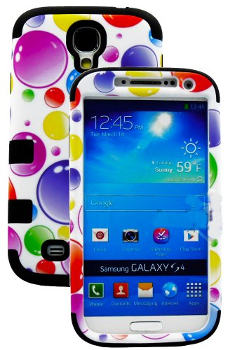 myLife (TM) Black  Colorful Bubble Pattern Design (3 Piece Hybrid) Hard and Soft Case for the Samsung Galaxy S4