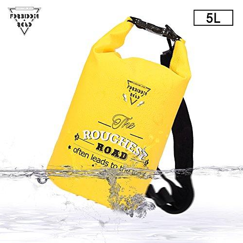 Forbidden Road Wasserfeste Dry Bag Wasserdichter Sack 5L 10L 15L 8 Farben- Roll Top Trockene Kompressionstasche Hält Ausrüstung trocken für Kajak fahren, Boot fahren, Camping, Kanu fahren, Angeln, Ski fahren, Snowboard fahren, Schwimmen, Surfen, JEDEN Sport