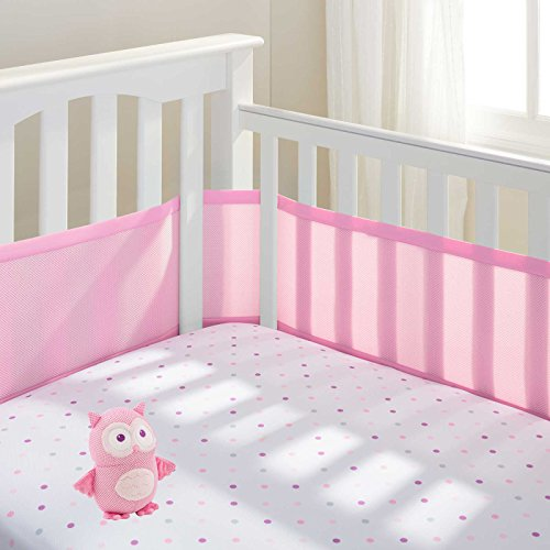 Breathable Baby Mesh Crib Liner (Pink Mist) with Breathable Baby Pink Owl Toy - 1