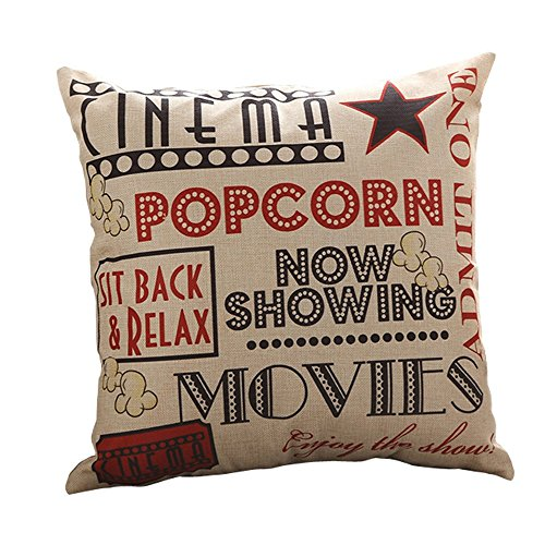 Do4U Inspirational Cotton Linen Canvas Square Movie Pattern Sofa Simple Cushion Pillow Cover 18x18 Inches Birthday Gift (Popcorn Room Decor compare prices)