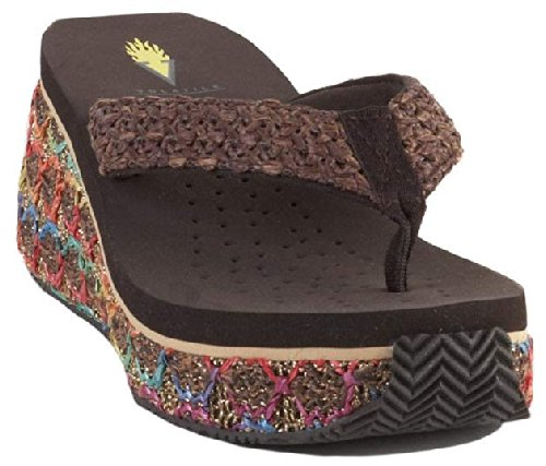 Volatile Women'S Plush Synthetic Wedge Sandal,Brown,9 B Us front-538019