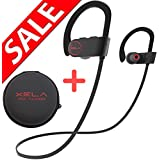 [ SALE ] - iPhone/Android - Bluetooth Headphones (Best Sport Wireless Stereo Headset with Microphone, Travel Case, Noise Reduction, True Beats, Neckband Style) by XELA (Black Wire)