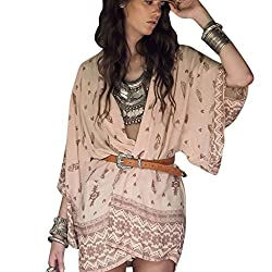 Imported Women Boho Floral Kimono Chiffon Cardigan Beach Cover Up Cape Jacket XL