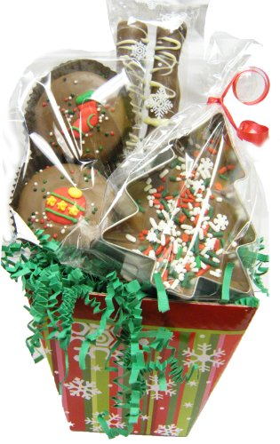 Whimsical Trio Chocolate Christmas Gift Basket