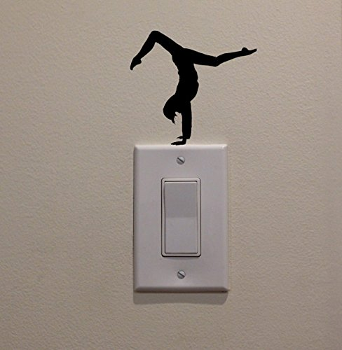 YINGKAI Fitness Girl Hand Stand Stretch on Light Switch Decal Vinyl Wall Decal Sticker Art Living Room Carving Wall Decal Sticker for Kids Room Home Window Decoration