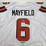 Autographed/Signed Baker Mayfield Cleveland White Football Jersey Beckett BAS COA