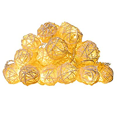 InnooLight Rattan Ball String Lights 40 LEDS Christmas Indoor String Lights for Christmas Tree, Garden, Patio, Wedding, Party (Warm White)